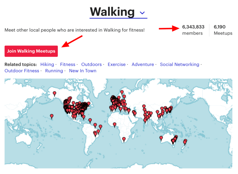 join local walking groups on meetup.com